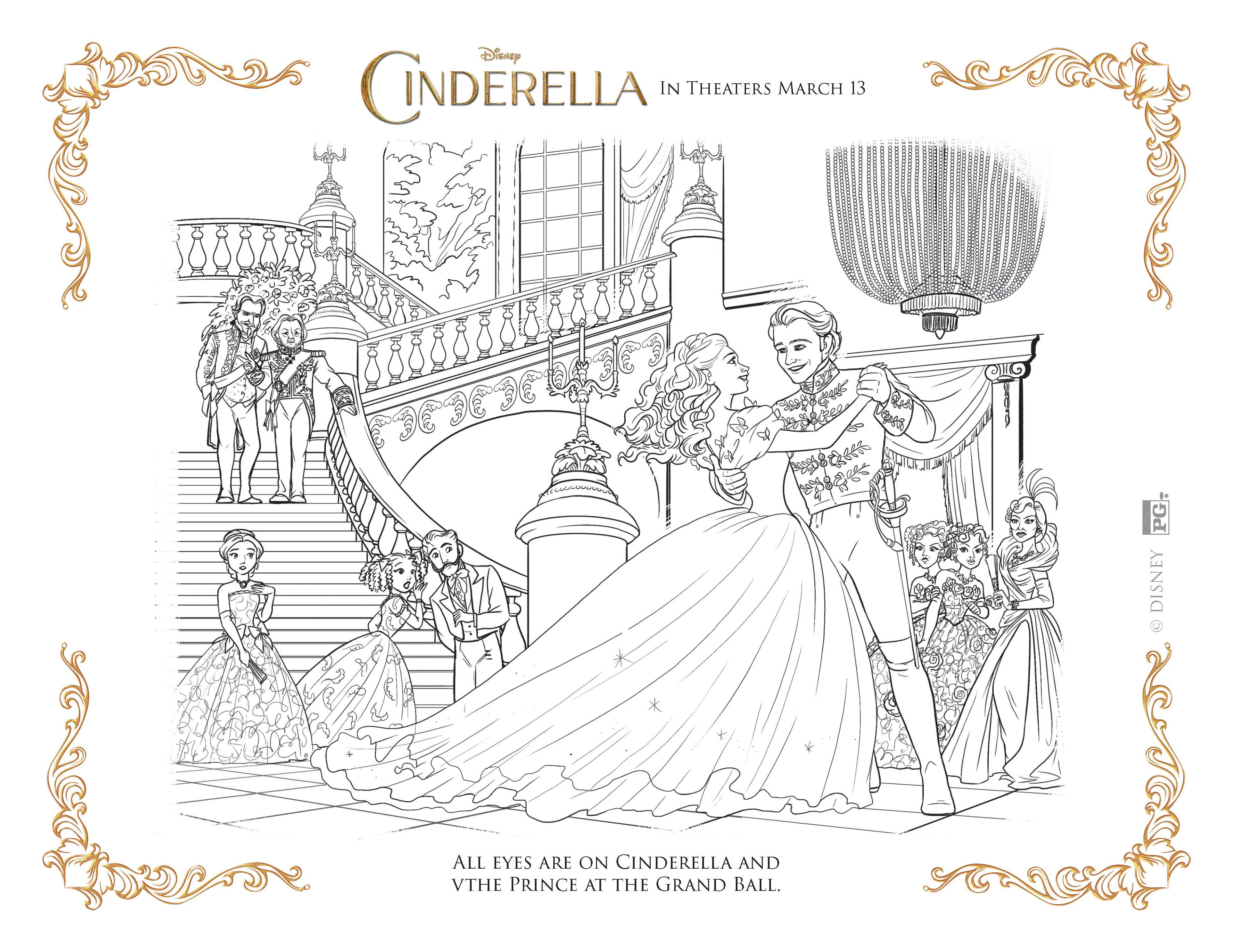 cinderella coloring pages at the ball