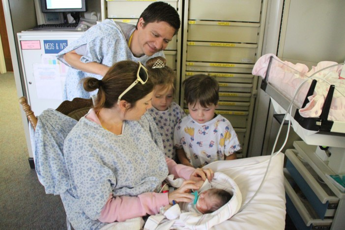Kids meeting sister in the NICU