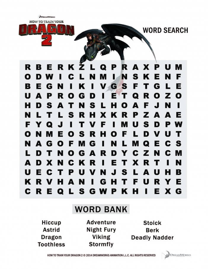 How to train your dragon 2 toothless wordsearch