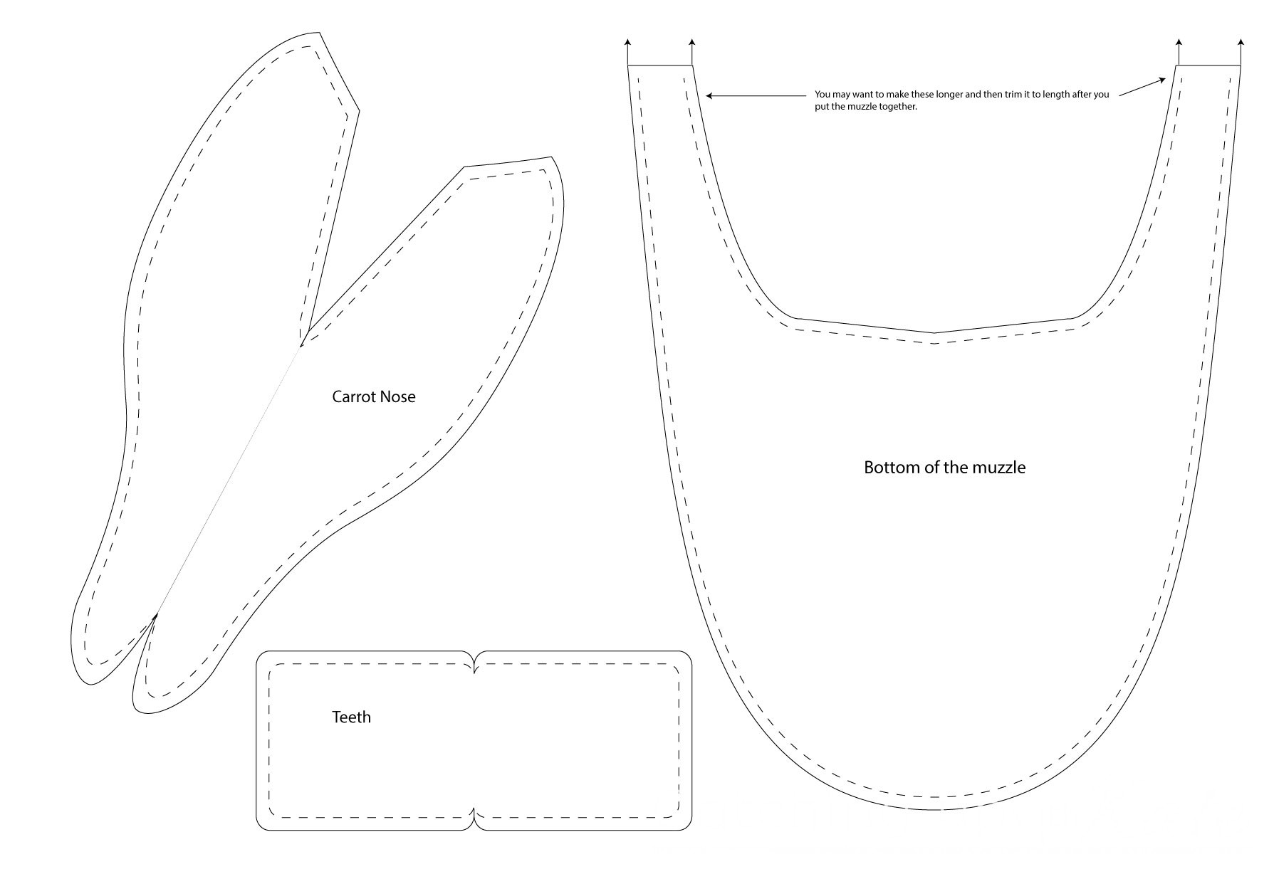 Diy olaf costume instructions highlights along the way olaf costume nose teeth muzzle bottom template pronofoot35fo Gallery