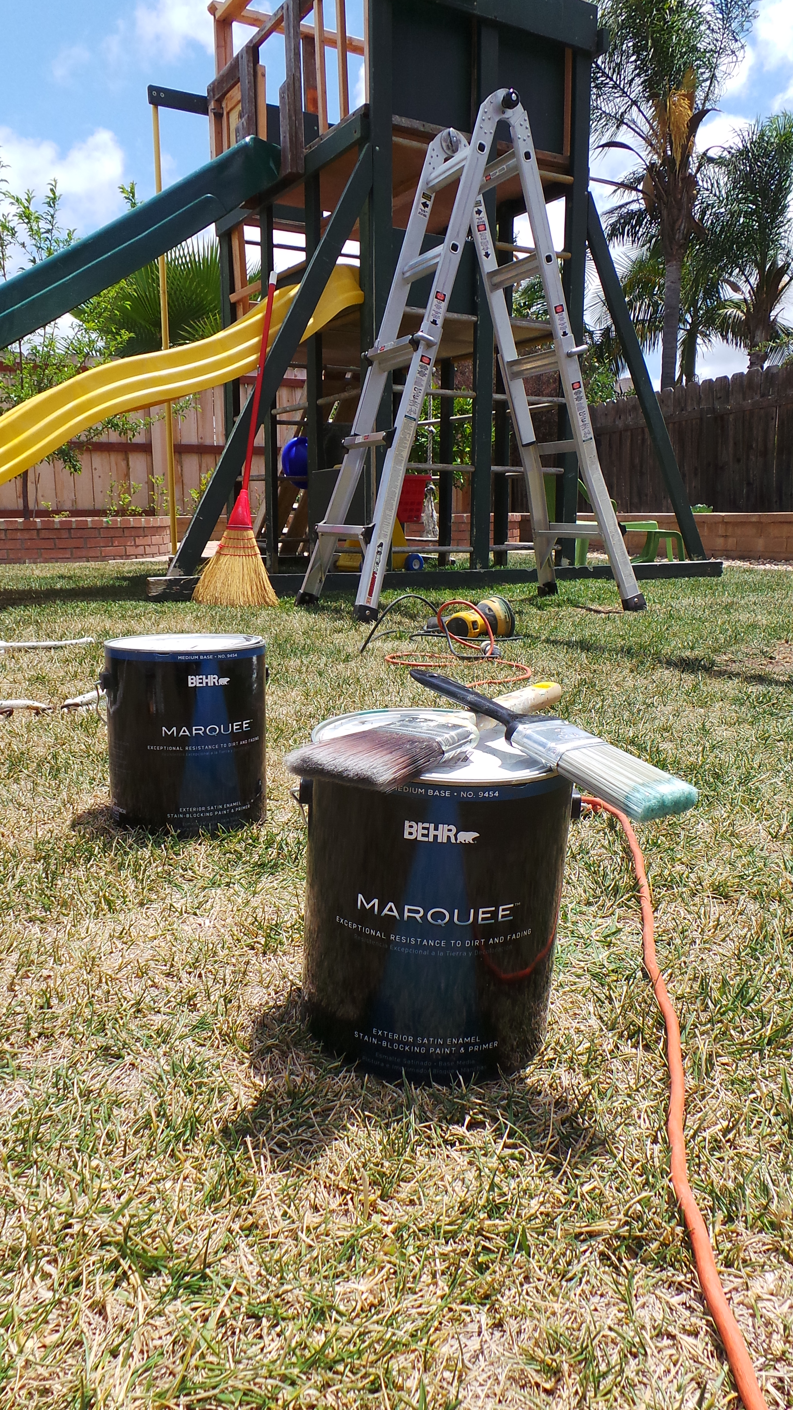 our freebie backyard play structure makeover highlights along